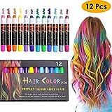 BYJIN Tinte temporal de tiza para el pelo | 12 colores de tinte lavable para el cabello | Mechas...