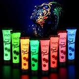 Luckyfine 8 x 28g Pintura Corporal y Facial - UV Glow, Pintura Neón Fluorescente 8 Colores UV Luz...