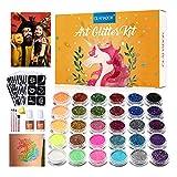 Kit de Tatuajes Temporales-GLAMADOR Brillo de Tatuaje 30 Colores, 145 Únicas Plantillas,4...