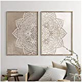 Dayanzai Mandala - Lienzo decorativo para pared, colores neutros, pósteres de yoga e impresiones de...