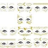 Tatuajes Temporales Cara, 10 Piezas Tatuajes de Cara y Ojos Temporales Metálicos. Pegatinas de...