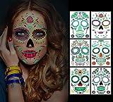Tatuajes temporales de cara de Halloween, 6 hojas Glow in the Dark Tattoos Sugar Skull Stickers Day...
