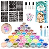 Kit de Tatuajes Purpurina Temporales, 36 Colores Brillo con 182 Plantillas, 5 Pinceles para Niños,...