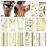 Konsait Tatuajes temporales para adultos Mujer Niños (12 hojas), impermeable Metálico Oro Flash...