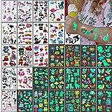 Tatuajes Temporales Niños Pegatinas,326 Tatuajes Luminosos de Dibujos Estilo Mixto, Unicornio...