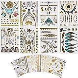 Metálico Temporal Tatuajes, 16 hojas Oro Destello Tatuajes, Más de 200 diseños Prima Falso...