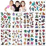 Konsait Tatuajes Temporales para Niños Niñas, 160pcs Dibujos Animados Animal Tatuaje Falso...