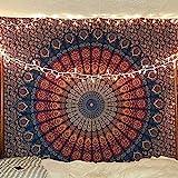 Craftozone Multi-Colored Mandala Tapestry Indian Wall Hanging, Bedsheet (Dark Blue, 230x220 cms)