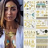 Tatuajes Dorados – Meersee 10 Hojas de Tatuajes Temporales Metálicos Adultos Brillante y ultra...