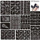 Jurxy 10 Hojas Kit de Plantilla de Tatuaje de Henna temporales Diseños de Arte Corporal...