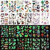 Qpout Tatuajes Temporales para niños, 135 tatuajes luminosos de dibujos animados de estilo mixto,...