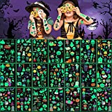 Tatuajes Temporales Niños Pegatinas Halloween,30 Hojas, 326 Piezas Tatuajes Luminosos de Dibujos...