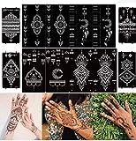 DIVAWOO Plantillas de Tatuajes Temporales, 12 Hojas Plantilla de Tatuaje para Manos