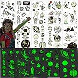 Qpout 9 hojas Tatuajes temporales de espacio luminoso para niños, pegatina de tatuaje de OVNI del...