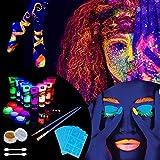 Lictin 43Pcs Pintura Corporal Pintura arte corporal UV Luz Negra Fosforescente maquillaje Arte...