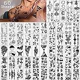 Tatuajes Temporales 60 Hojas - Tatuaje falso Pequeño Resistente al Agua, Fores, Coronas, Estrellas,...